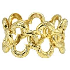 Van Cleef & Arpels 18 Karat Gold Open Link Alhambra Diamond Bracelet