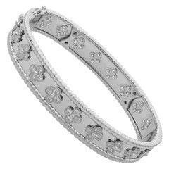 Van Cleef & Arpels 18 Karat Gold Perlée Clovers Diamond Bracelet Medium Model