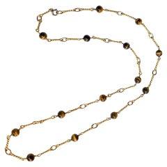 Van Cleef & Arpels 18 Karat Gold Tiger Eye Bead Long Station Chain Necklace