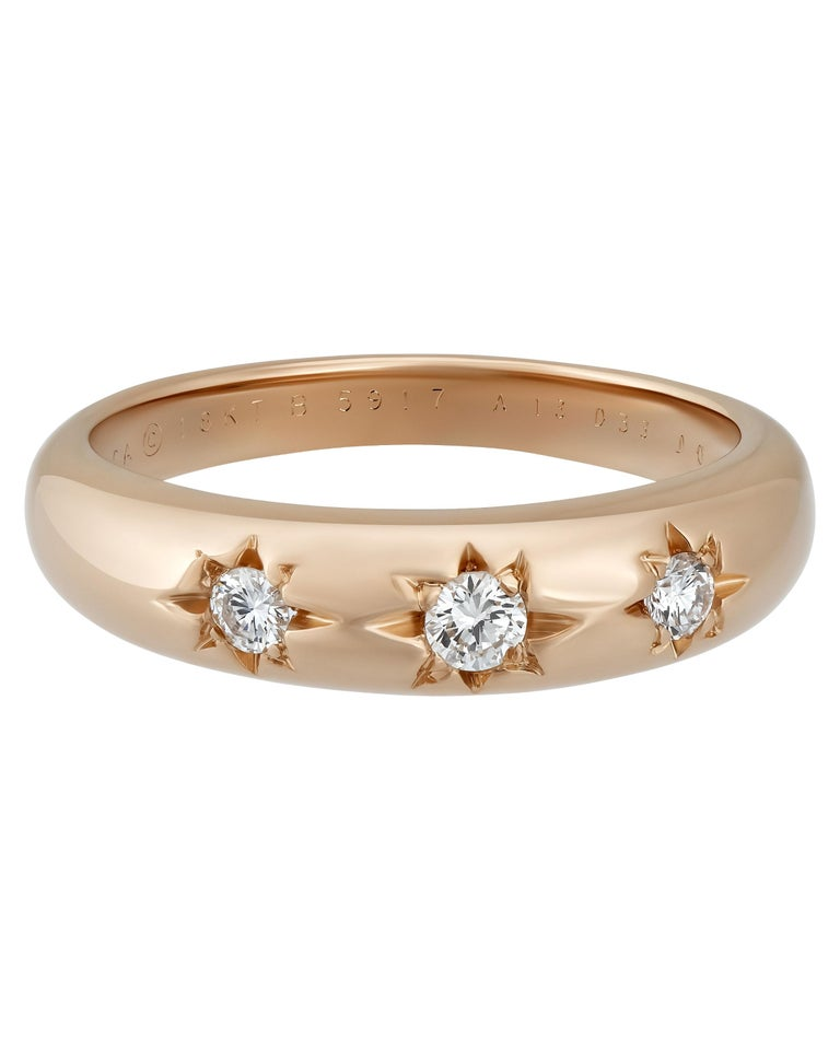 Van Cleef & Arpels 18 Karat Rose Gold Diamond Ring In Excellent Condition In New York, NY
