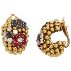 Van Cleef & Arpels 18 Karat Ruby Sapphire and Diamond Ear Clips