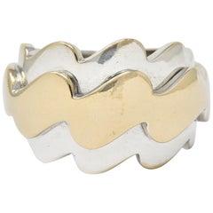 Van Cleef & Arpels 18 Karat Two-Tone Gold Vintage Wave Band Ring