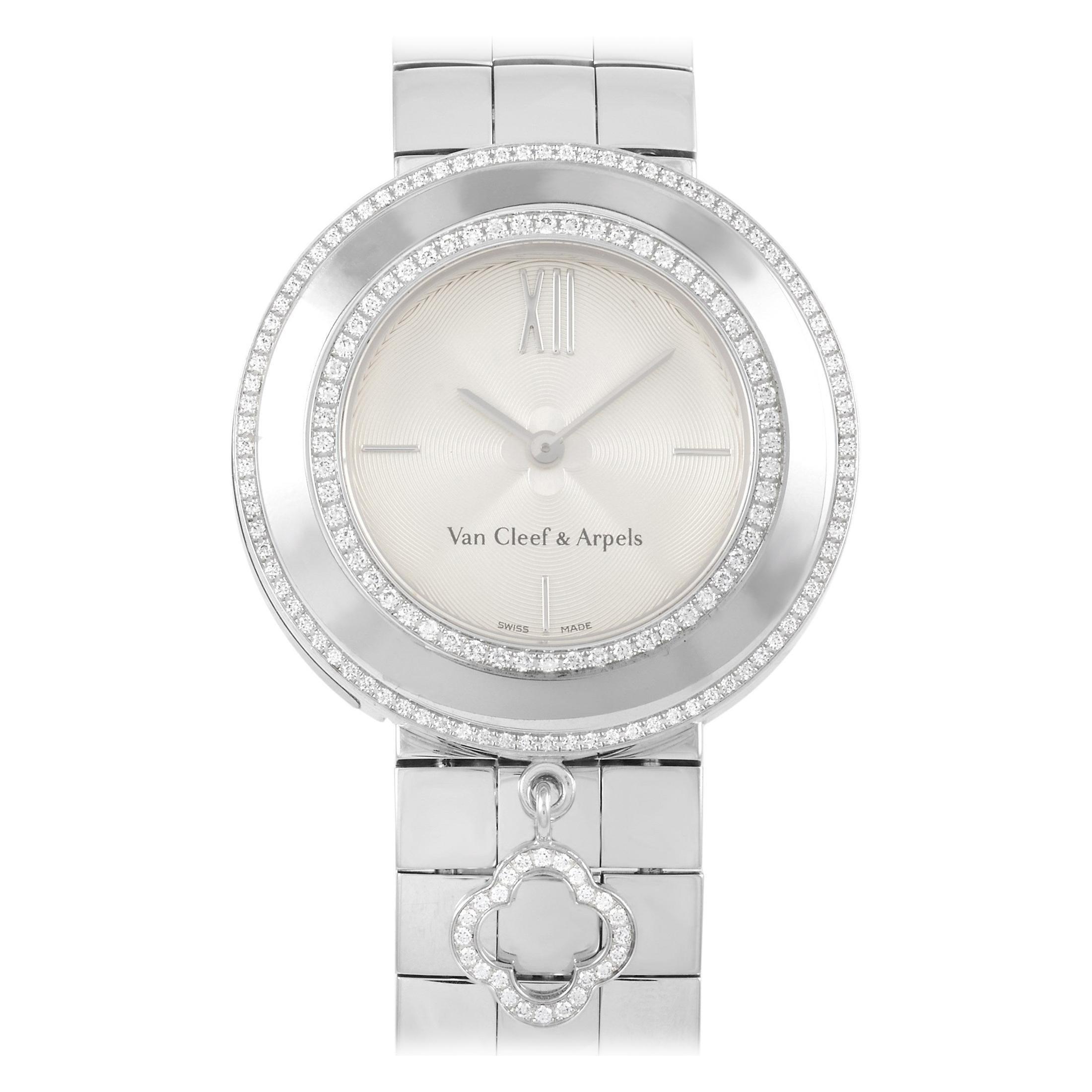 Van Cleef & Arpels 18 Karat White Gold Alhambra Charms Watch 3572114