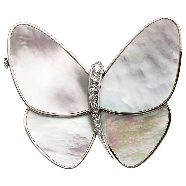 Van Cleef & Arpels, 18 Karat White Gold and Mother of Pearl Butterfly Brooch For Sale