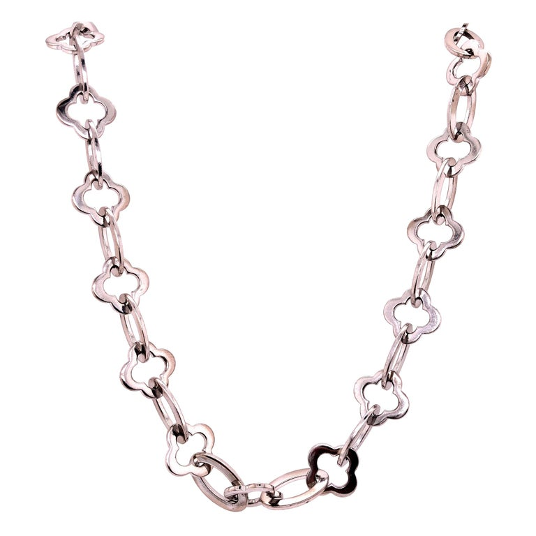 Van Cleef & Arpels 18 Karat White Gold Byzantine Alhambra Chain For Sale