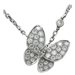 Van Cleef & Arpels 18 Karat White Gold Diamond Butterfly Pendant