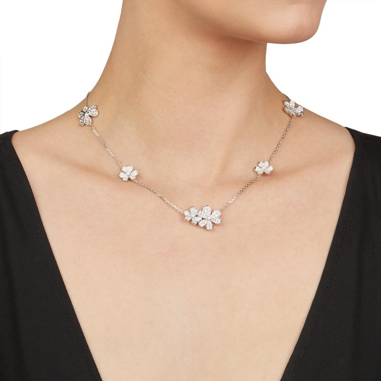 This Necklace by Van Cleef & Arpels is from their Frivole collection and features 327 round brilliant cut Diamonds of 5.11ct total colour E-F, clarity VVS, made in 18k White Gold. The Necklace has a secure push button clasp. Complete with Van Cleef