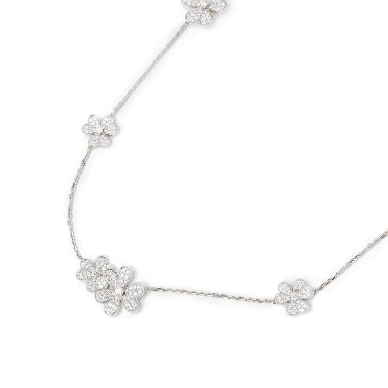 Modern Van Cleef & Arpels 18 Karat White Gold Diamond Nine Flower Frivole Necklace For Sale