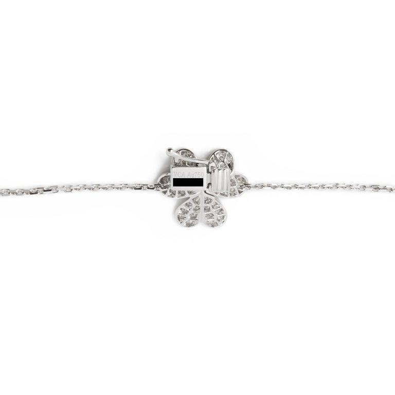 Women's Van Cleef & Arpels 18 Karat White Gold Diamond Nine Flower Frivole Necklace For Sale