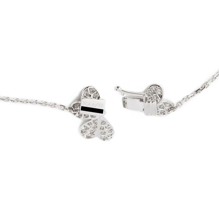 Van Cleef & Arpels 18 Karat White Gold Diamond Nine Flower Frivole Necklace For Sale 1