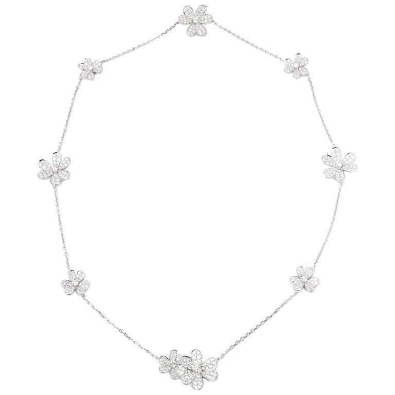 Van Cleef & Arpels 18 Karat White Gold Diamond Nine Flower Frivole Necklace For Sale