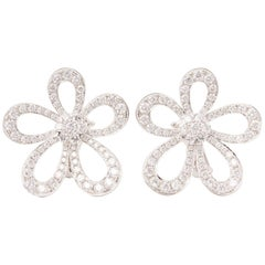 Van Cleef & Arpels 18 Karat White Gold Round Cut Diamond Flowerlace Earrings