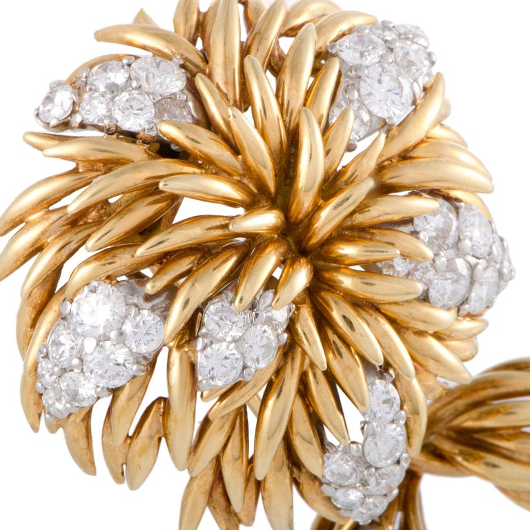 A stunningly intriguing design is beautifully presented in 18K yellow and 18K white gold in this superb brooch that is created by Van Cleef & Arpels. The brooch is luxuriously decorated with colorless (grade E) diamonds of VVS clarity that amount to