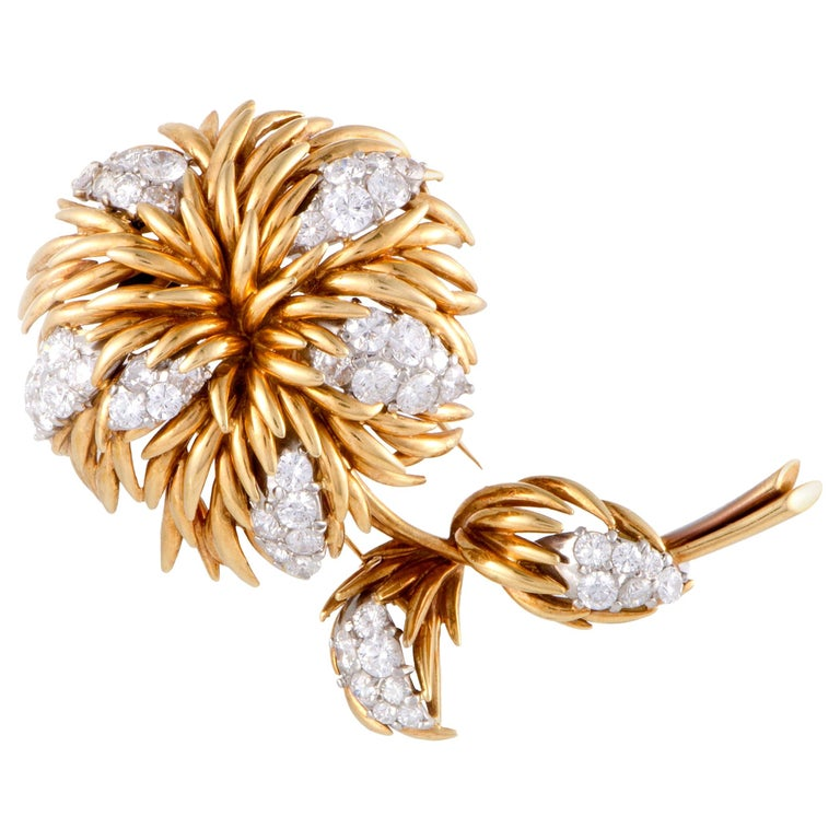 Van Cleef & Arpels 18 Karat Yellow and White Gold 4.30 Ct Diamond Flower Brooch For Sale
