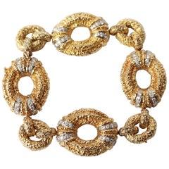 Van Cleef & Arpels 18 Karat Yellow and White Gold and Diamond Bracelet, 1960s