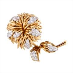Van Cleef & Arpels 18 Karat Yellow and White Gold Diamond Flower Brooch