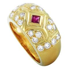 Van Cleef & Arpels 18 Karat Yellow Gold 0.75 Carat Diamond and Ruby Ring