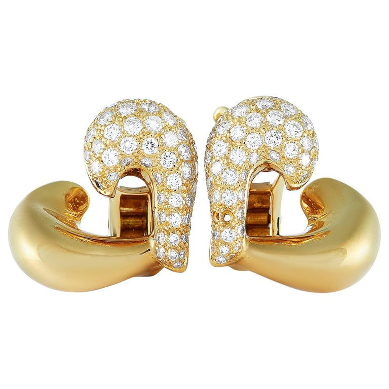 Van Cleef & Arpels 18 Karat Yellow Gold, 1.10 Carat Diamond Earrings