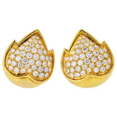 Van Cleef & Arpels 18 Karat Yellow Gold 4.50 Carat Diamond Clip Earrings