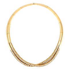 Van Cleef & Arpels 18 Karat Yellow Gold 6.00 Carat Diamond Choker Necklace