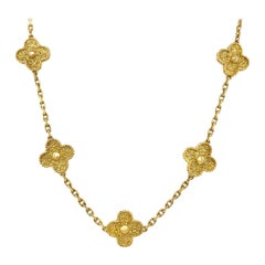 Van Cleef & Arpels 18 Karat Yellow Gold Alhambra Necklace
