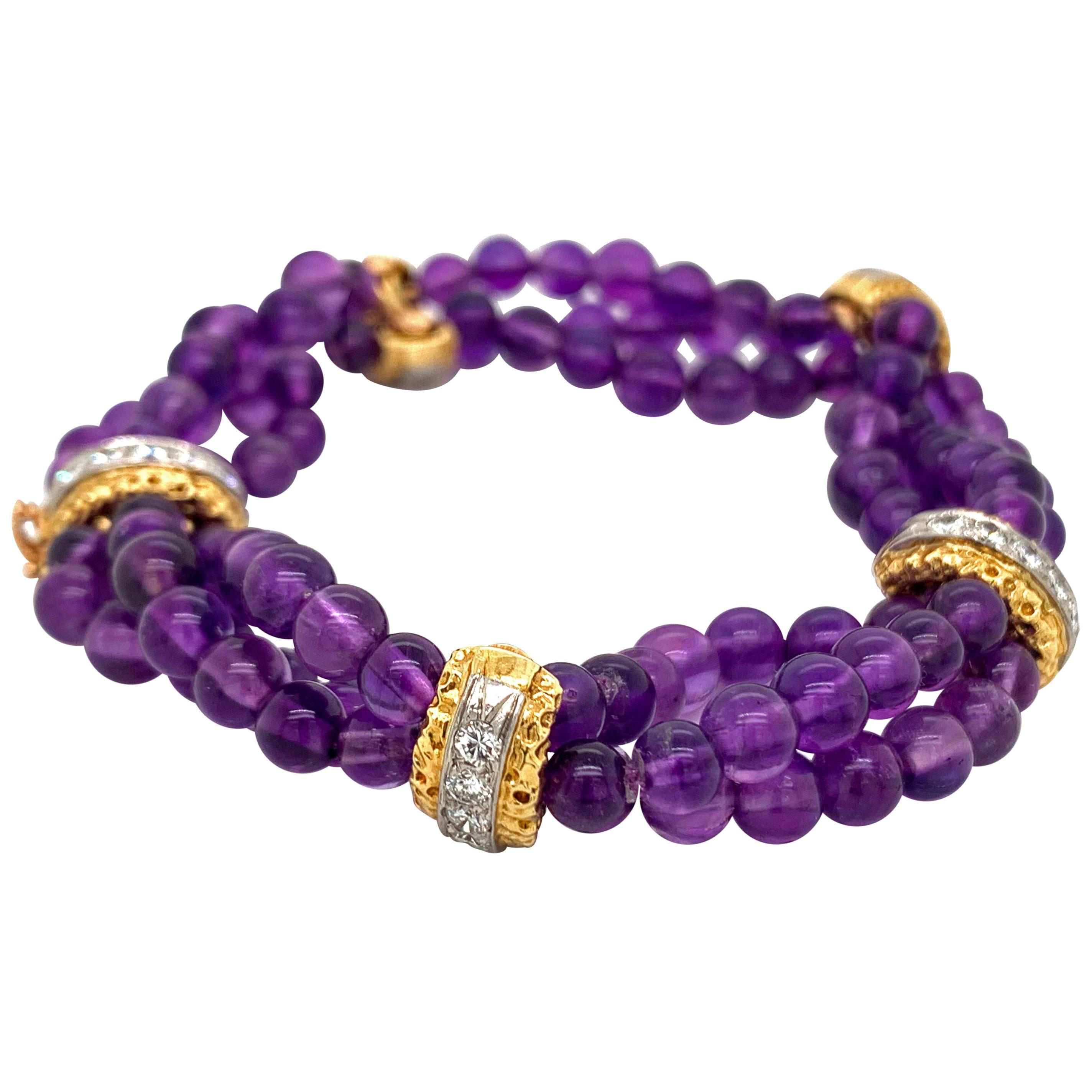 Van Cleef & Arpels 18 Karat Yellow Gold Amethyst and Diamond Bead Bracelet