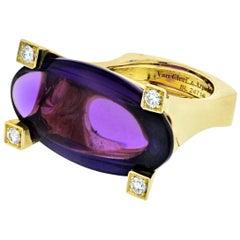 Van Cleef & Arpels 18 Karat Yellow Gold Amethyst and Diamond Ring