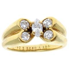 Van Cleef & Arpels 18 Karat Yellow Gold and Diamond Butterfly Papillon Ring 4.6g