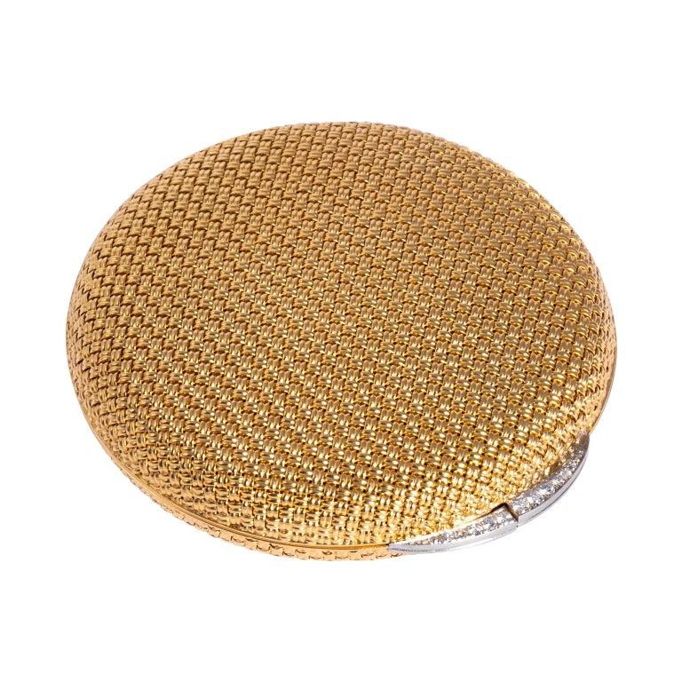Van Cleef & Arpels 18 Karat Yellow Gold and Diamond Compact For Sale