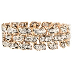 Van Cleef & Arpels 18 Karat Yellow Gold and Diamond Three-Row Leaf Bracelet