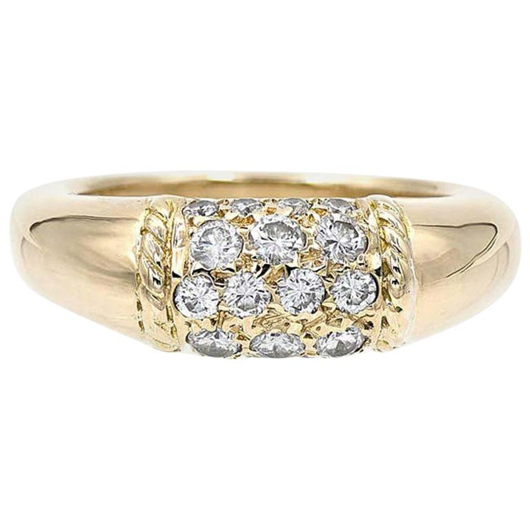 Van Cleef & Arpels 18 Karat Yellow Gold and Diamonds Philippine Ring For Sale
