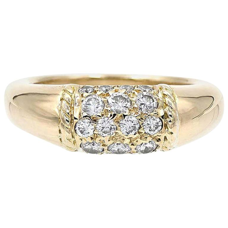 Van Cleef & Arpels 18 Karat Yellow Gold and Diamonds Philippine Ring For Sale