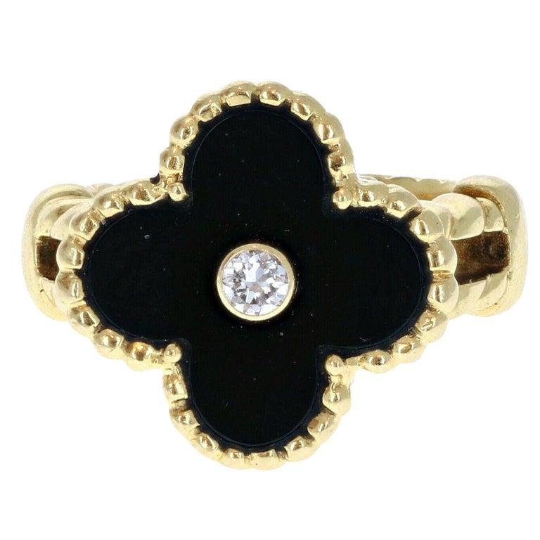 Van Cleef & Arpels 18 Karat Yellow Gold, Black Onyx and Diamond Alhambra Ring For Sale