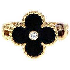 Van Cleef & Arpels 18 Karat Yellow Gold, Black Onyx and Diamond Alhambra Ring