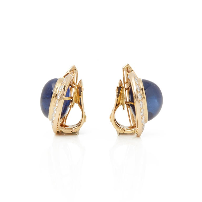 Round Cut Van Cleef & Arpels 18 Karat Yellow Gold Cabochon Sapphire and Diamond Earrings For Sale