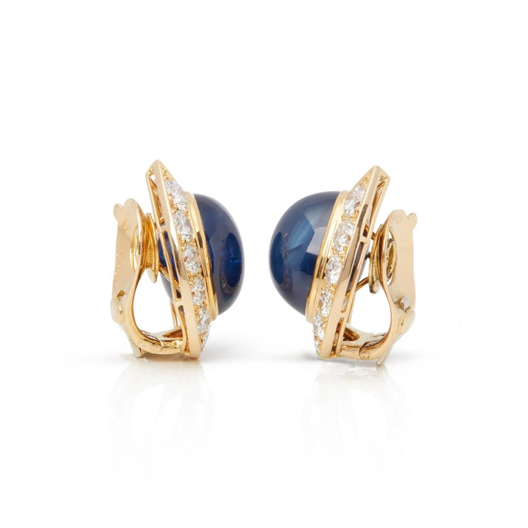 Van Cleef & Arpels 18 Karat Yellow Gold Cabochon Sapphire and Diamond Earrings In Excellent Condition For Sale In Bishop's Stortford, Hertfordshire