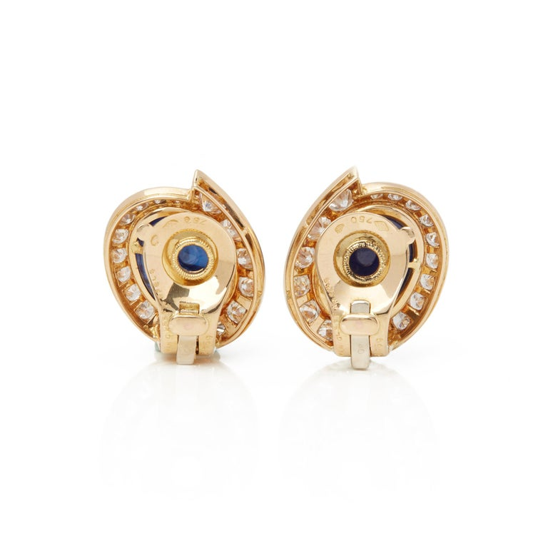 Women's Van Cleef & Arpels 18 Karat Yellow Gold Cabochon Sapphire and Diamond Earrings For Sale
