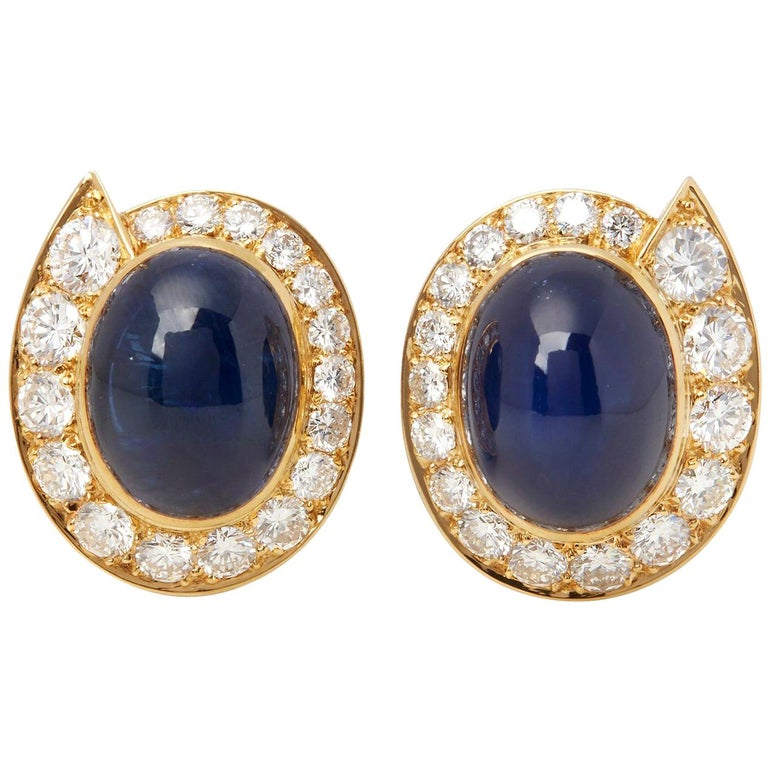 Van Cleef & Arpels 18 Karat Yellow Gold Cabochon Sapphire and Diamond Earrings For Sale