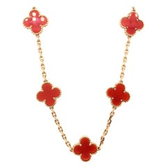 Van Cleef & Arpels 18 Karat Yellow Gold Carnelian 10 Motif Necklace