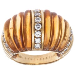 Van Cleef & Arpels 18 Karat Yellow Gold Citrine and Diamond Ring