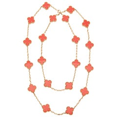 Van Cleef & Arpels 18 Karat Yellow Gold Coral 20 Motif Vintage Alhambra Necklace