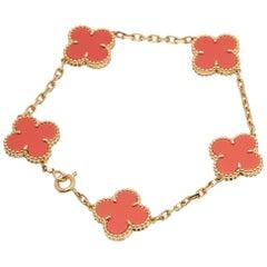 Van Cleef & Arpels 18 Karat Yellow Gold Coral 5 Motif Vintage Alhambra Bracelet