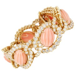 Van Cleef & Arpels 18 Karat Yellow Gold Coral and Diamond Bracelet