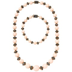 Van Cleef & Arpels 18 Karat Yellow Gold, Coral and Sapphire Convertible Necklace