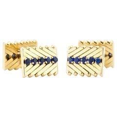 Van Cleef & Arpels 18 Karat Yellow Gold Cufflinks with Blue Sapphires