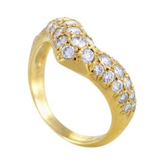 Van Cleef & Arpels 18 Karat Yellow Gold Curved Diamond Band Ring