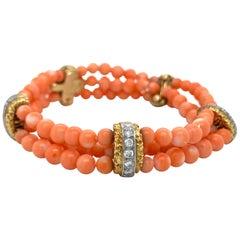 Van Cleef & Arpels 18 Karat Yellow Gold Diamond and Coral Bead Bracelet