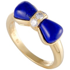 Van Cleef & Arpels 18 Karat Yellow Gold Diamond and Lapis Bow Ring