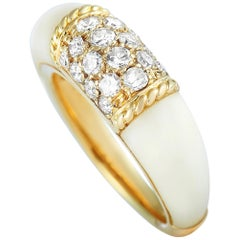 Van Cleef & Arpels 18 Karat Yellow Gold Diamond and White Coral Philippine Ring
