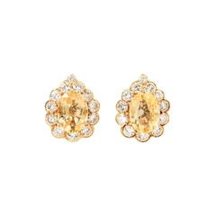 Van Cleef & Arpels 18 Karat Yellow Gold, Diamond and Yellow Sapphire Ear Clips